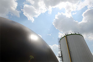 Digester and feedstock tank.  (Gus Chan / The Plain Dealer)