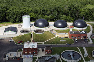 An aerial view of the three digesters built by quasar energy group Thursday, July 10, 2014. (Gus Chan / The Plain Dealer)